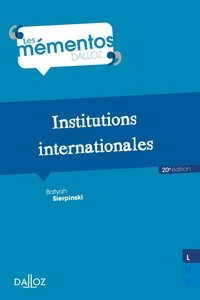 Jean Charpentier et Batyah Sierpinski - Institutions internationales.