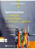 Jean-Christophe Poudou et Lionel Thomas - Optimisation pour l'analyse économique et les sciences de gestion.