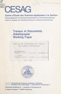 Jean-Christophe Turlot et Serge Vendemini - Analyse des déterminants de l'emploi sur données d'entreprises.