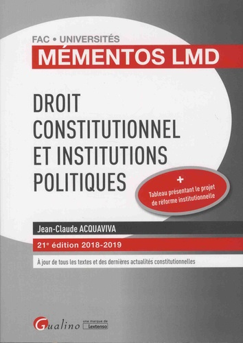 Droit constitutionnel et institutions politiques  Edition 2018-2019