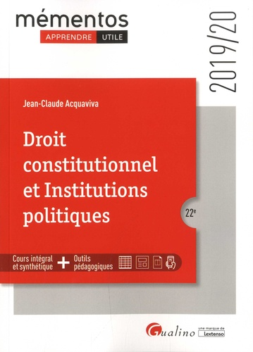 Jean-Claude Acquaviva - Droit constitutionnel et Institutions politiques.