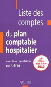 Liste des comptes du plan comptable hospitalier avec leur répartition par titres - Jean-Claude Delnatte |