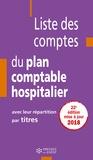 Jean-Claude Delnatte - Liste des comptes du plan comptable hospitalier avec leur répartition par titres.