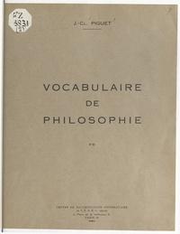 Jean-Claude Piguet - Vocabulaire intellectuel.
