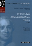 Jean d' Alembert - Opuscules mathématiques - Tome 1 (1761).