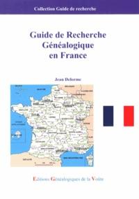 Jean Delorme - Guide de recherche généalogique en France.