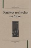 Jean Dufournet - Dernières recherches sur Villon.