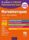 Jean-François Bergeaut et Christophe Billy - Mathématiques écrit/admissibilité CRPE - Tome 1.