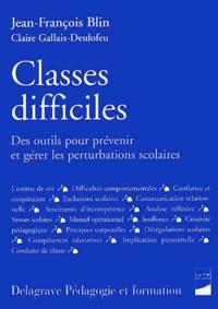 Deedr.fr Classes difficiles. Des outils pour prévenir et gérer les perturbations scolaires Image