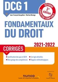 Jean-François Bocquillon et Martine Mariage - DCG 1 Fondamentaux du droit - Corrigés - 2021/2022 - Réforme Expertise comptable.