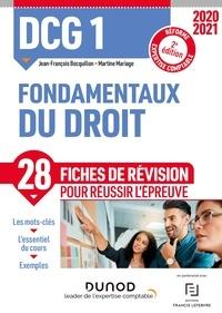 Jean-François Bocquillon et Martine Mariage - DCG 1 Fondamentaux du droit - Fiches de révision - 2020-2021.