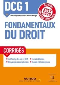 Jean-François Bocquillon et Martine Mariage - DCG 1 Fondamentaux du droit - Corrigés.
