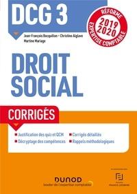 Ebook gratuit télécharger dictionnaire anglais DCG 3 Droit social - Corrigés ePub par Jean-François Bocquillon, Christine Alglave