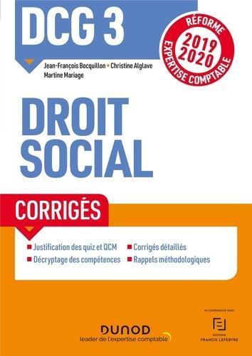 Droit social DCG 3. Corrigés  Edition 2019-2020