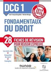 Jean-François Bocquillon et Martine Mariage - Fondamentaux du droit DCG 1 - Fiches de révision.