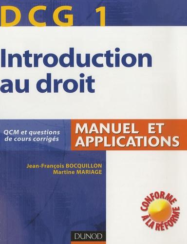 Jean-François Bocquillon et Martine Mariage - Introduction au droit DCG1 - Manuel et applications.