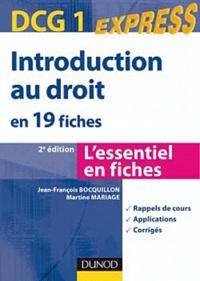 Jean-François Bocquillon et Martine Mariage - Introduction au droit DCG1 - En 19 fiches.