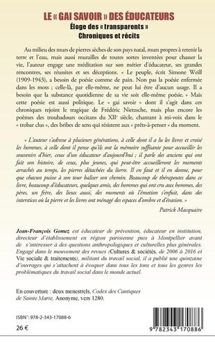 """Le """"gai savoir"""" des éducateurs. Eloge des """"transparents"""". Chroniques et récits"""