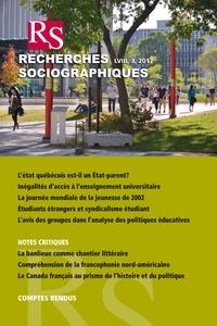 Jean-François Laniel et Christian Maroy - Recherches sociographiques. Vol. 58 No. 3, Septembre–Décembre 2017.