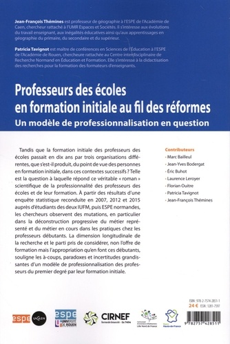 Professeurs des écoles en formation initiale au fil des réformes. Un modèle de professionnalisation en question