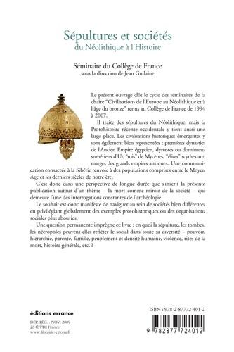 Sépultures et sociétés. Du Néolithique à l'Histoire