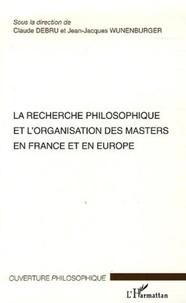 Jean-Jacques Wunenburger et Claude Debru - La recherche philosophique et l'organisation des masters en France et en Europe - Séminaires des 16 et 17 janvier 2004 Ecole Normale Supérieure - Paris.