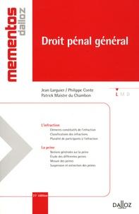 Jean Larguier et Philippe Conte - Droit pénal général.