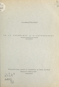 Jean-Marie Ricolfis - De la toponymie à l'archéologie.