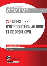 Jean-Paul Branlard - 275 questions d'introduction au droit et de droit civil.