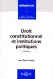 Jean-Paul Jacqué - Droit constitutionnel et institutions politiques.