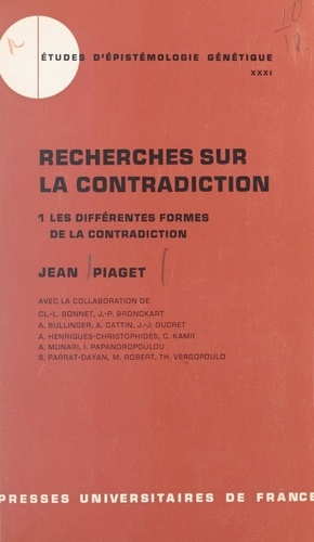 Recherches sur la contradiction (1). Les différentes formes de la contradiction