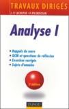 Jean-Pierre Lecoutre et Philippe Pilibossian - Analyse 1 - Travaux dirigés.
