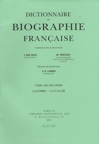 Deedr.fr Dictionnaire de biographie française - Tome 19 Fascicule 114, Lacombe - La Vallée Image
