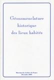 Jean-Pierre Pélissier et Claude Motte - Géonomenclature historique des lieux habités.