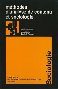 Jean Rémy et Danielle Ruquoy - Méthodes d'analyse de contenu et sociologie.