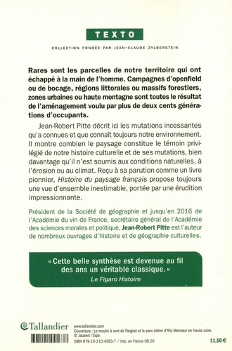Histoire du paysage français. De la préhistoire à nos jours 5e édition