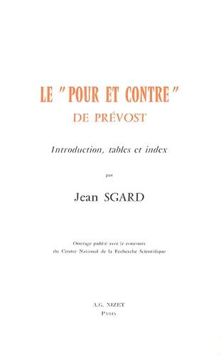 Jean Sgard - Le Pour et contre de Prévost.