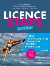 Jean Slawinski et Nicolas Termoz - Licence STAPS Tout en Un - 2e éd - 125 fiches de cours, 60 QCM et sujets de synthèse.