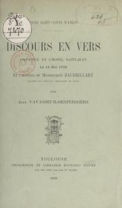 Jean Vavasseur-Desperriers - Discours en vers prononcé en l'Hôtel Saint-Jean le 14 mai 1908, en l'honneur de Monseigneur Baudrillart.