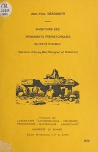 Jean-Yves Desdoigts et  Laboratoire anthropologie, pré - Inventaire des monuments préhistoriques du Pays d'Auray - Cantons d'Auray, Belz, Pluvigner et Quiberon.