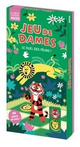 Jessica Das - Jeu de dames Le duel des félins ! - Avec 1 plateau recto-verso, 20 pions tigre en bois, 20 pions lions en bois, 4 pions de secours et 2 sacs en toile.