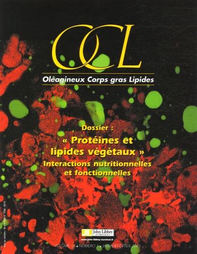 """Jacques Belleville - OCL Volume 10, N° 1, Jan : """"Protéines et lipides végétaux"""" - Interactions nutritonnelles et fonctionnelles."""