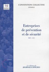 Journaux officiels - Entreprises de prévention et de sécurité.