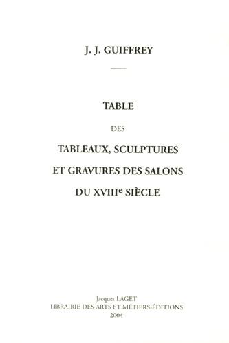 Jules Guiffrey - Table des tableaux, sculptures et gravures des salons du XVIIIe siècle.