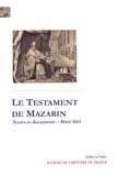 Jules Mazarin - Le testament du cardinal Mazarin.