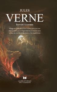 Jules Verne - Voyage au centre de la Terre ; De la Terre à la Lune ; Autour de la Lune ; Vingt mille lieues sous les mers ; Le tour du monde en 80 jours ; L'île mystérieuse.