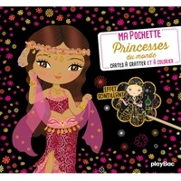 Julie Camel - Princesses du monde - 5 cartes à gratter scintillantes, 5 coloriages, 1 pique en bois.