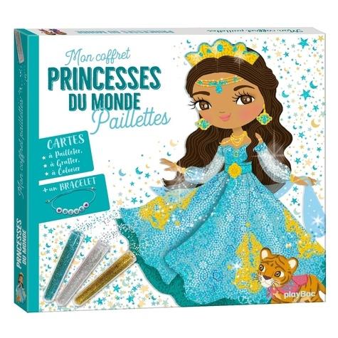 Princesses du monde. Avec 3 tubes de paillettes, 10 cartes à colorier, 1 bracelet et 1 stylet malin double embout
