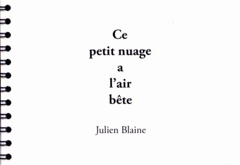 Julien Blaine - Ce petit nuage a l'air bête.