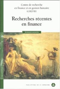 Julien Le Maux et Christophe Hénot - Recherches récentes en finance.